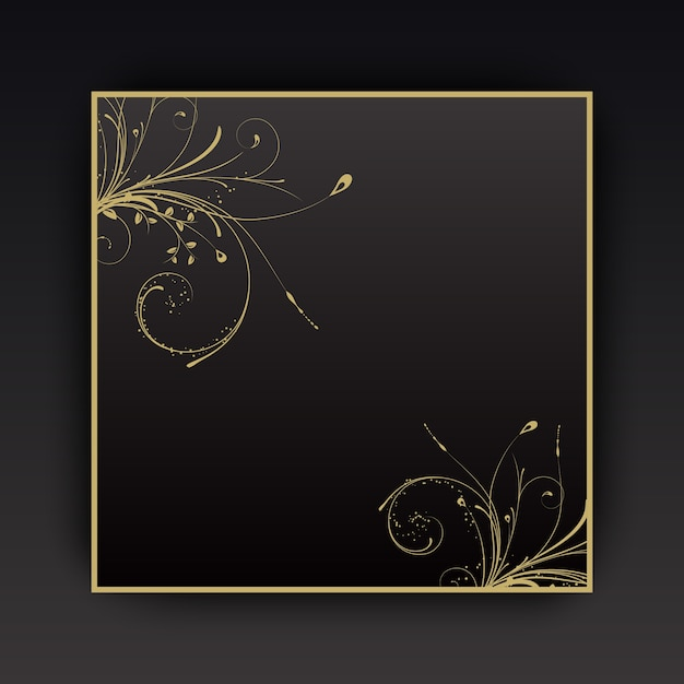 Decorative background with floral elements with gold border Vector | Free Download