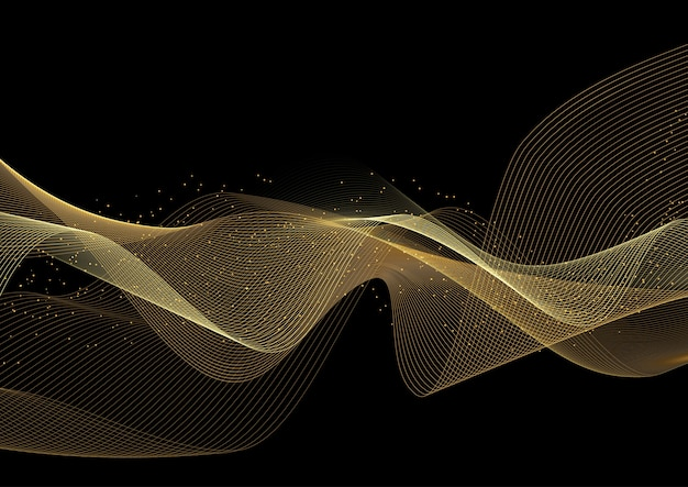 Decorative background with glittery gold waves design Free Vector