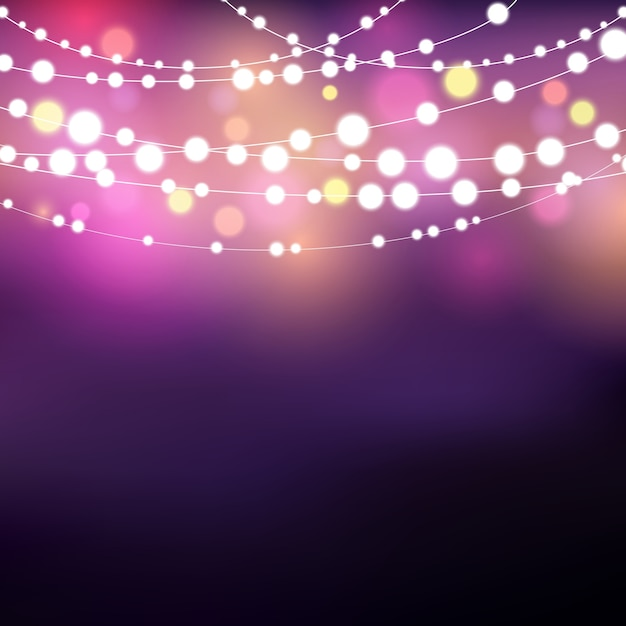 Decorative background with glowing string lights Vector Free Download