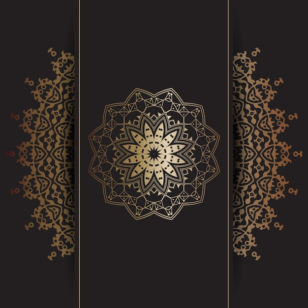 Decorative Background With Gold Mandala Design Vector