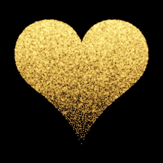 Decorative background with golden heart Vector | Free Download