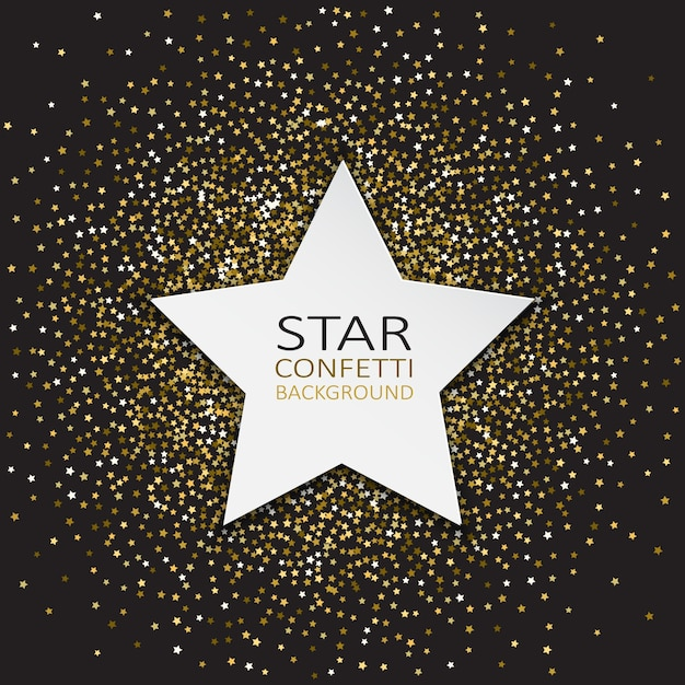 Decorative background with star and confetti Free Vector
