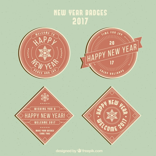 Decorative badges for new year in vintage style