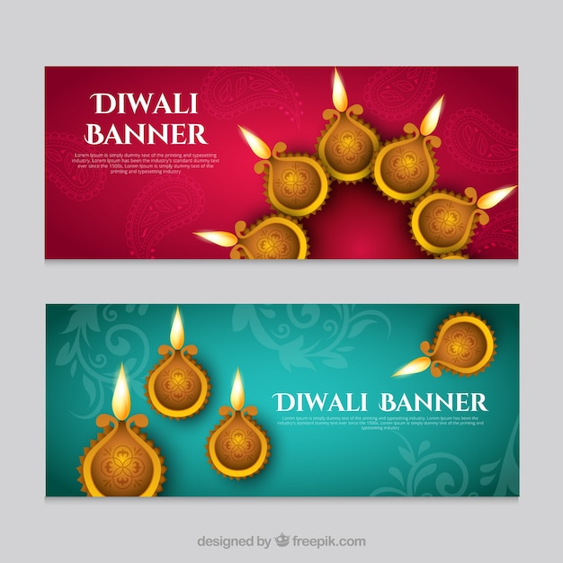Decorative banners diwali festival Free Vector