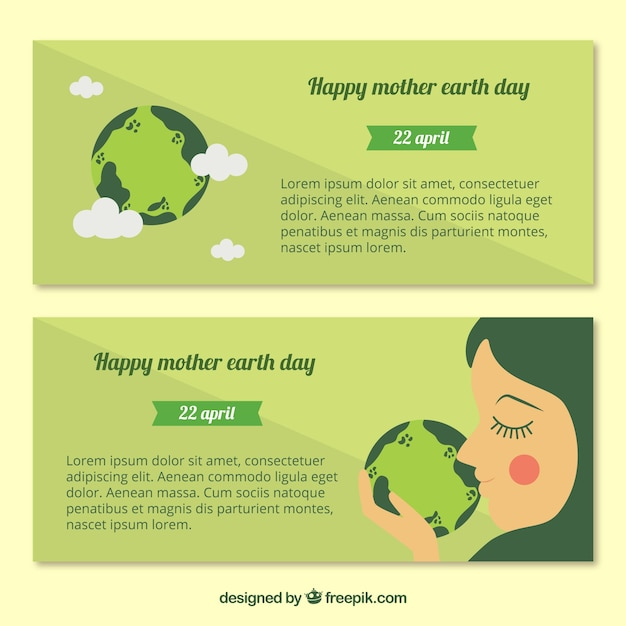 Decorative banners in green tones for mother earth day Free Vector