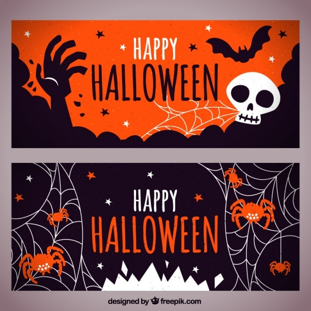 Decorative banners of halloween Free Vector