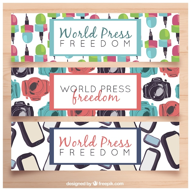 Decorative banners with colored elements for world press freedom day