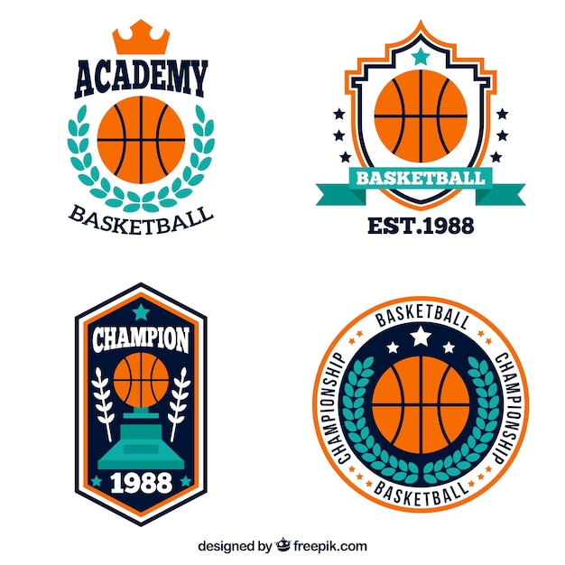 Decorative basketball logos in flat design Free Vector
