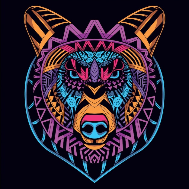 Decorative bear head from glow neon color Premium Vector