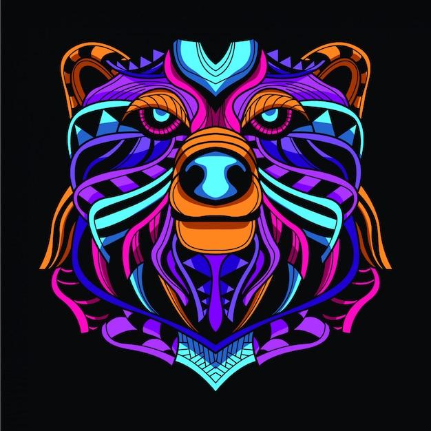 Decorative bear head from neon color Premium Vector