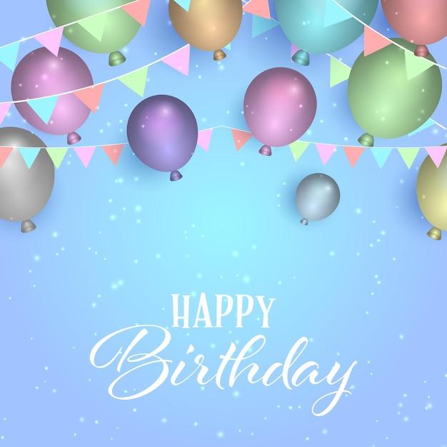 Декоративный фон дня рождения с воздушными шарами и баннерами Бесплатные векторы