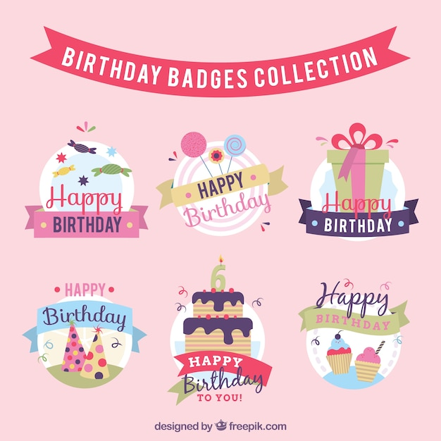 Decorative birthday badges set