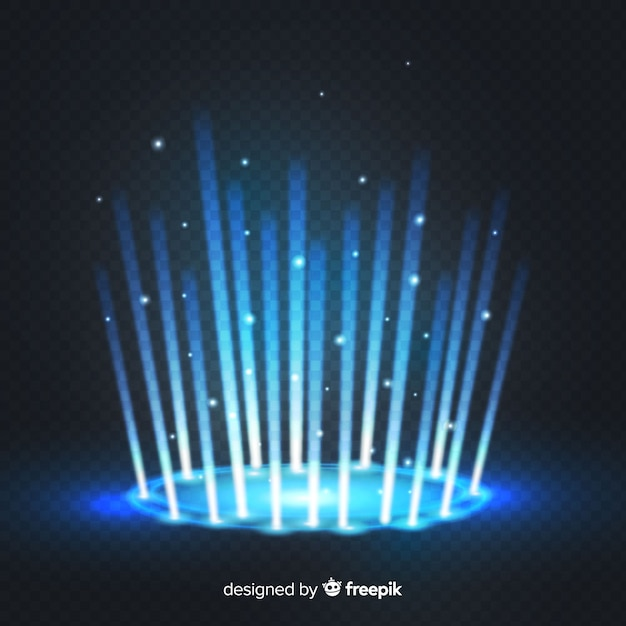 Decorative blue light portal effect on transparent background Free Vector