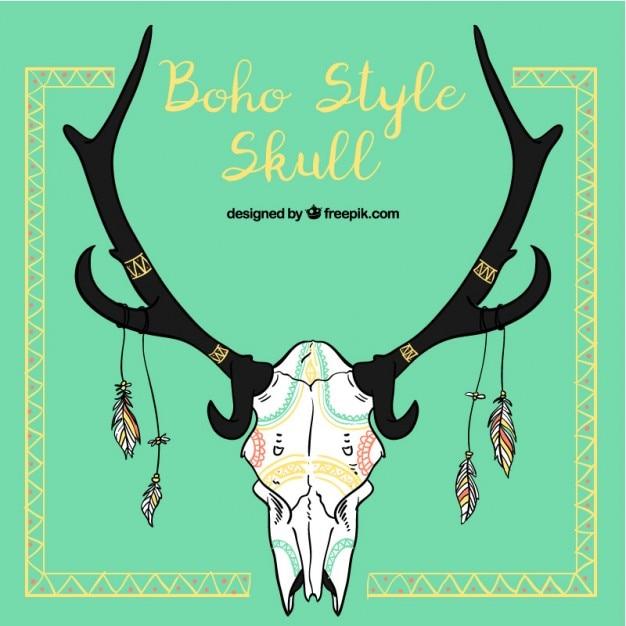 Decorative boho style animal skull Free Vector