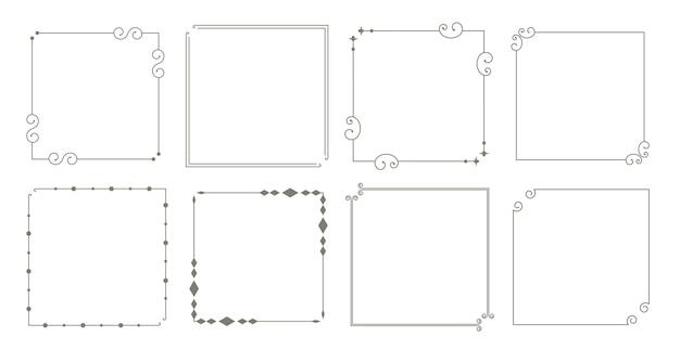 Декоративные бордюры цветочные старинные рамки набор из восьми Бесплатные векторы