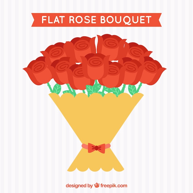 Decorative bouquet of red roses in flat\ design