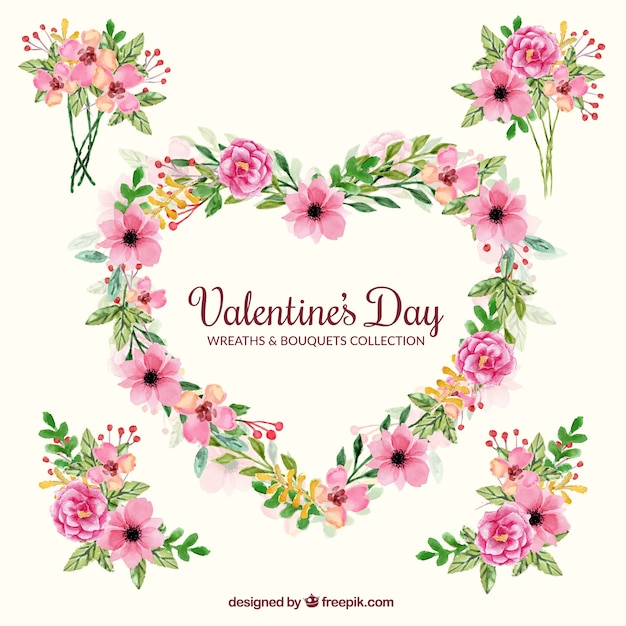 Decorative bouquets and wreath for valentine\'s\ day
