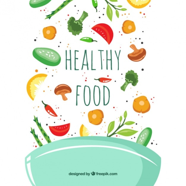 Decorative bowl with hand-drawn vegetables Free Vector