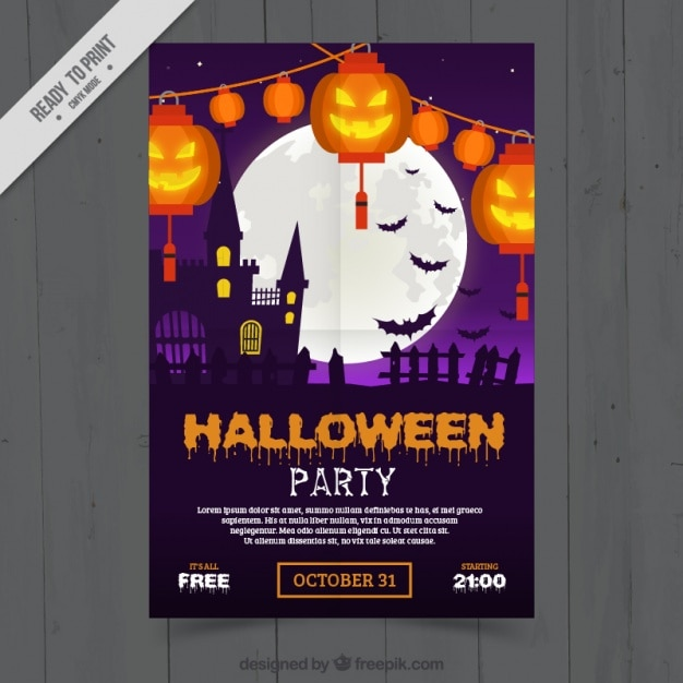 Decorative brochure halloween party Free Vector