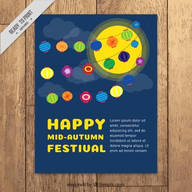 Decorative brochure of mid-autumn festival