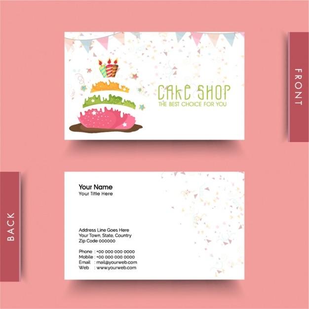 Decorative business card for cake shop Premium Vector