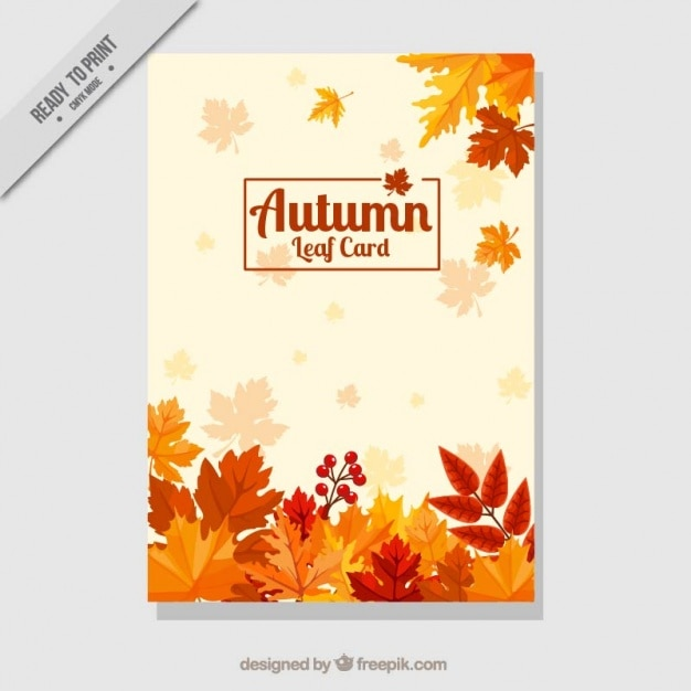 Decorative card with dry leaves Free Vector