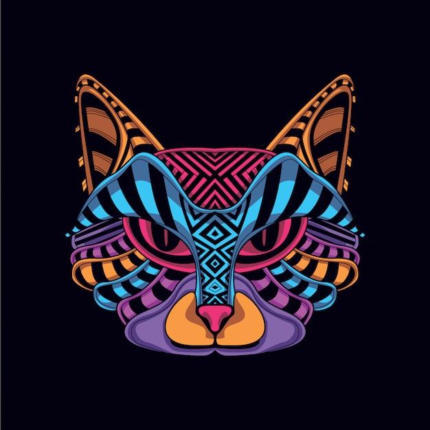 Декоративная кошачья морда в неоновом цвете Premium векторы