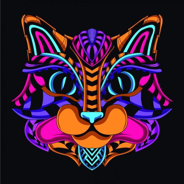 Декоративная кошачья голова из свечения неонового цвета Premium векторы