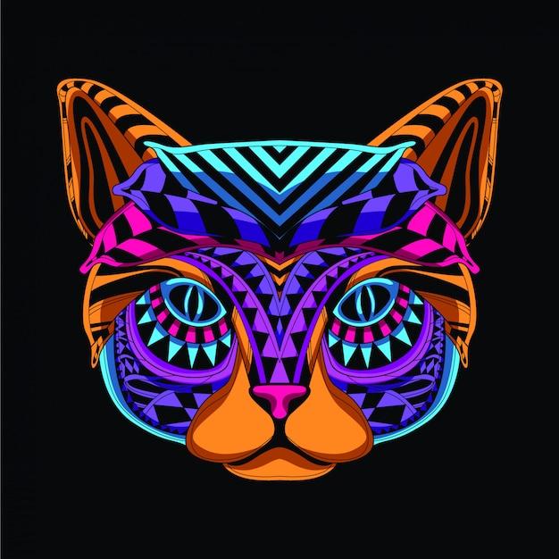 Decorative cat in neon color Premium Vector