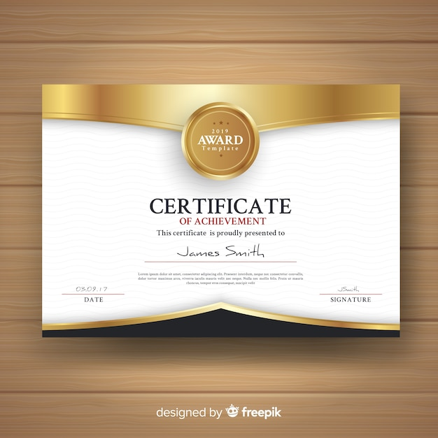 Decorative certificate template with golden elements Free Vector