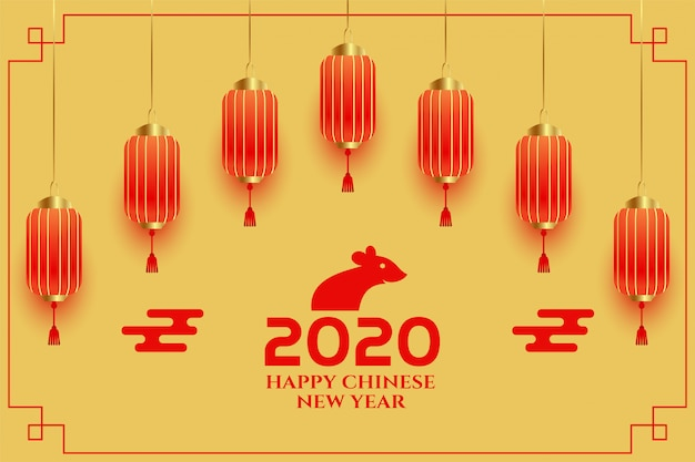 Decorative chinese new year 2020 greeting background Free Vector