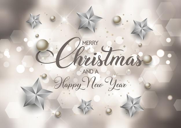 Декоративный фон рождество и новый год с дизайном огней боке Premium векторы