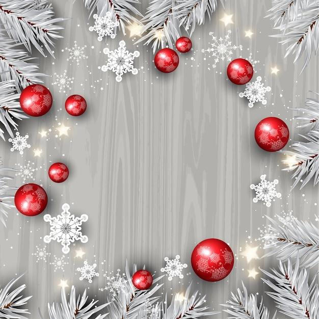 나무 질감에 장식 장식 크리스마스 배경 무료 벡터