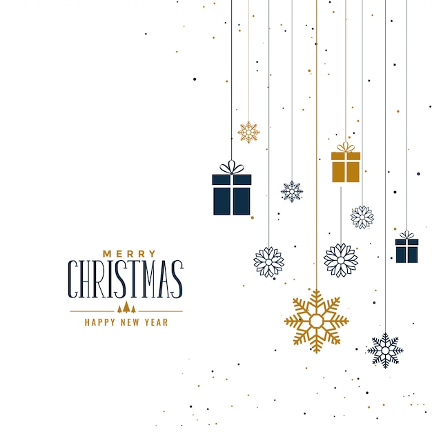 ギフトと雪片で装飾的なクリスマスの背景 無料ベクター