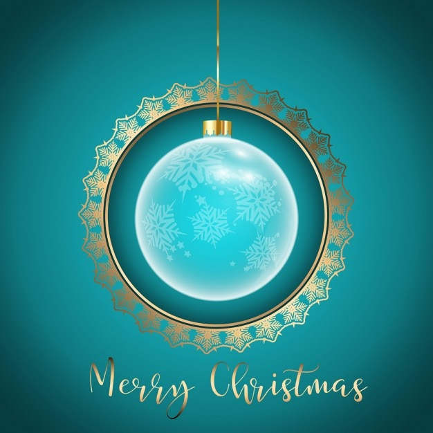 Decorative christmas background with golden frame Free Vector