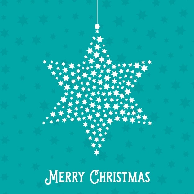 Decorative christmas background with hanging star Free Vector