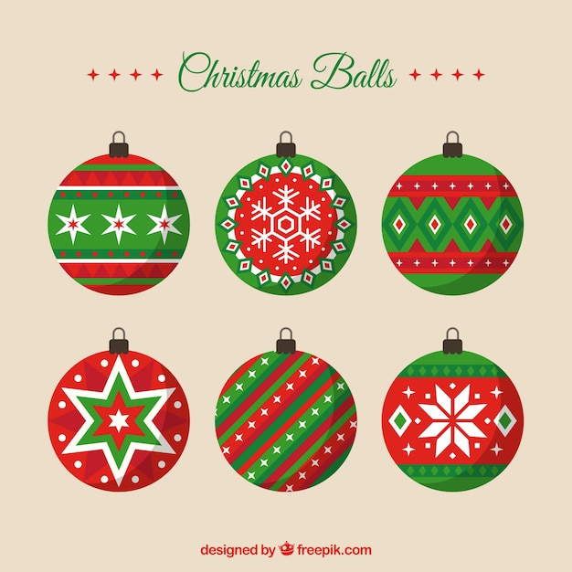 Decorative christmas balls in flat style Vector | Free Download
