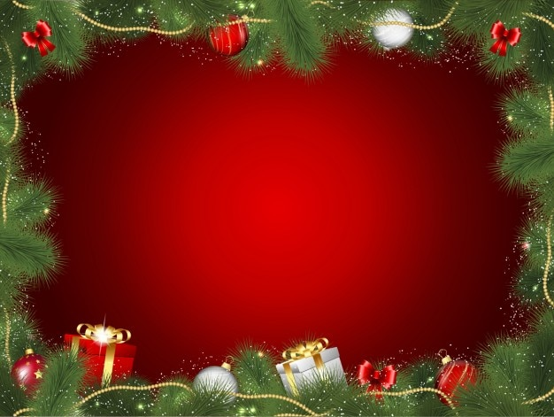 decorative christmas frame with gifts vector free download