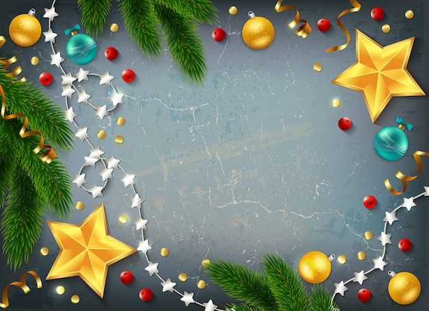 Decorative christmas frame with golden stars Free Vector