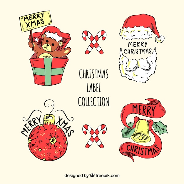 decorative christmas labels set free vector - Decorative Christmas Labels
