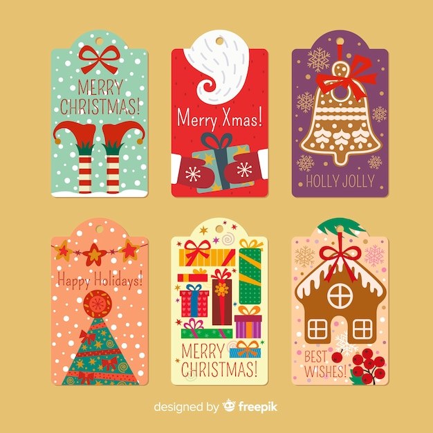 Decorative christmas labels Free Vector