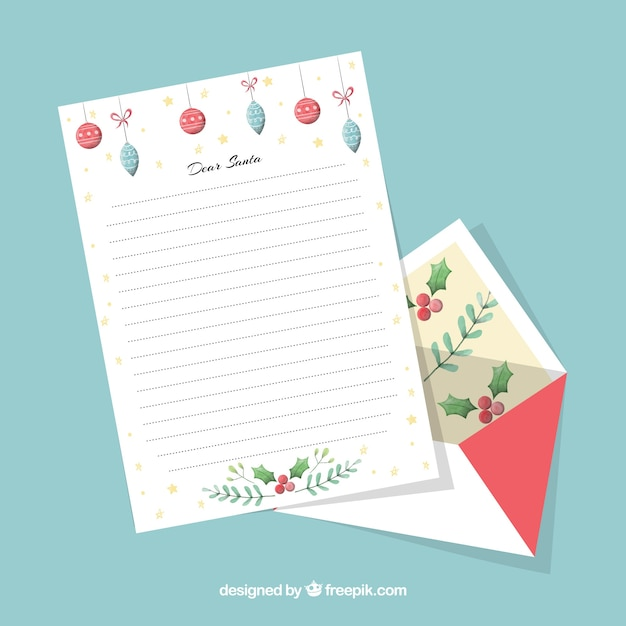 decorative christmas letter template free vector - Christmas Letter Decorations