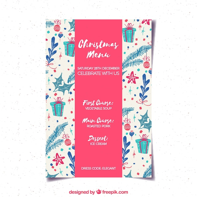 Decorative christmas menu with hand drawn elements