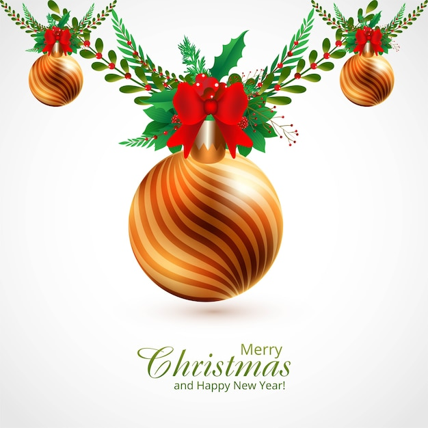 Decorative christmas ornaments branches and balls background Free Vector