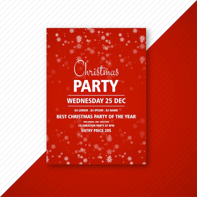 Decorative christmas party flyer with creative snowflakes Free Vector