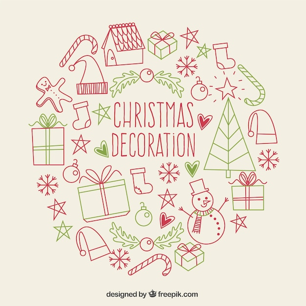 Christmas Sketches.Decorative Christmas Sketches Background Stock Images Page