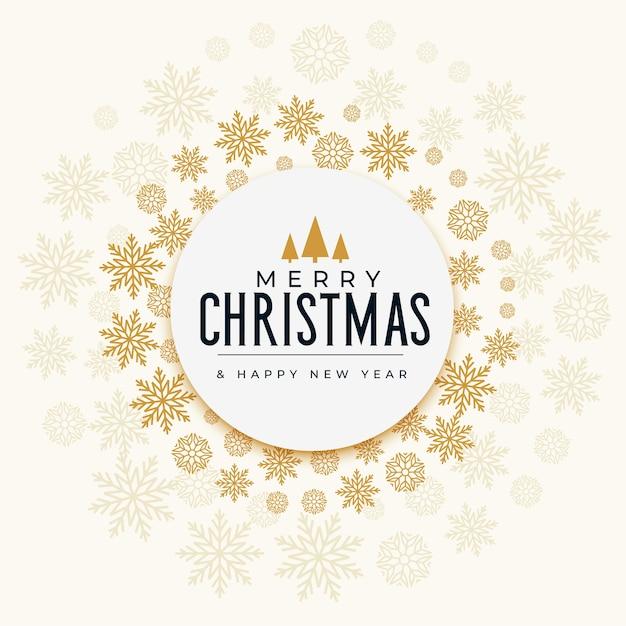 装飾的なクリスマスの雪片ゴールデンフェスティバルカード 無料ベクター