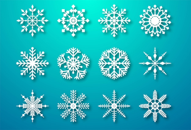 Decorative christmas snowflakes set elements Free Vector