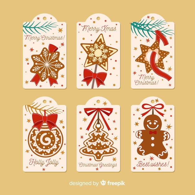 Decorative christmas tags Free Vector