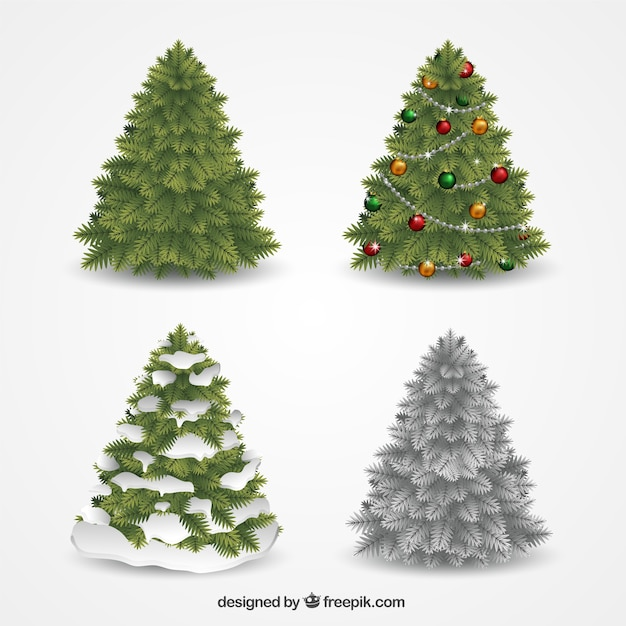 Christmas Tree Collection Manly : Decorative christmas trees collection vector free download